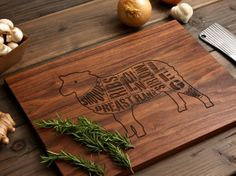 Wooden Lamb Butcher Diagram Cutting Board  12x16  Laser by woodink, $45.00