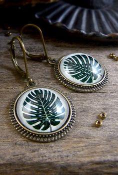 Monstera leaf earrings, Tropical earrings, Tropical leaf jewelry, Exotic leaves earrings, Gifts for her, Dark green leaf dangles