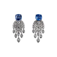 Cartier Royal Earrings, platinum, cushion-cut sapphires (5.06 carats and 6.70 carats) from Madagascar, pear-shaped rose-cut diamonds, brilliant-cut diamonds.
