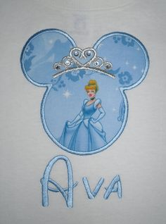 Princess Minnie Mouse applique with crystal accents - use Disney font