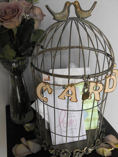 Decorative Wedding Bird Cage Card Holder With Wooden Cards Sign