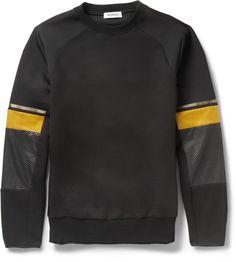 Tim Coppens Leather-Trimmed Cotton-Blend Sweatshirt on shopstyle.co.uk