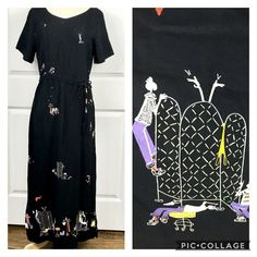 Vintage David Dart Black Maxi Dress Novelty Print Shopping 90s Rayon Small #DavidDart #Maxi Maxi Dress With Sleeves, Short Sleeve Dresses, People Shopping, Black Maxi, Novelty Print, Drawstring Waist, Ebay Clothing, David, Boho