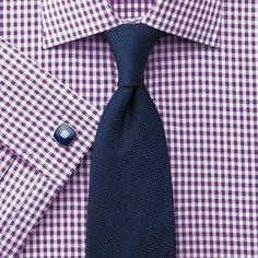 Plum silk road gingham check slim fit shirt | Men's dress shirts from Charles Tyrwhitt | CTShirts.com