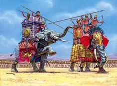 Seleucid and Ptolemaic War Elephants at the Battle of Raphia.