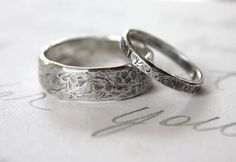 Rustic matching wedding band set. His/Hers. by Golightly