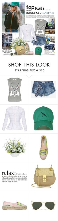 """""""Top Hat: Baseball Cap Style"""" by thewondersoffashion ❤ liked on Polyvore featuring Paul & Joe Sister, Alexander McQueen, Lux-Art Silks, Leo Studio Design, Chloé and Ray-Ban"""