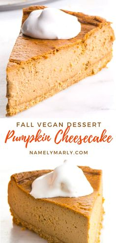The holidays call for a special dessert! That's why Namely Marly created the vegan Pumpkin Cheesecake recipe! It contains a rich and creamy cheesecake filling, perfectly spiced and crunchy graham cracker, and  topped with tasty vegan caramel sauce. It is dairy-free, egg-free, and super delicious—a wonderful holiday treat! #pumpkincheesecake #vegan #vegancheesecake #namelymarly