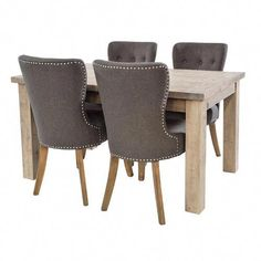 Saltash Reclaimed Wood Dining Table and Grey Upholstered Chairs - Modish Living Dining Sets - Reclaimed wood dining sets Reclaimed Wood Dining Table, Reclaimed Wood Furniture, Solid Wood Dining Table, Extendable Dining Table, Cheap Furniture, Dining Room Furniture, Dining Chairs, Dining Sets, Table Sizes