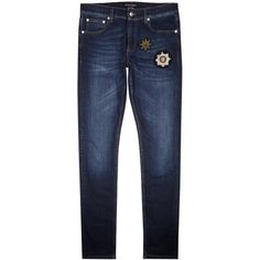 Alexander McQueen Blue badge-appliquéd skinny jeans ($565) ❤ liked on Polyvore featuring men's fashion, men's clothing, men's jeans, mens skinny jeans, mens skinny fit jeans, mens super skinny jeans, mens blue jeans and mens blue skinny jeans