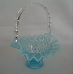 Fenton Vase Basket Weave With Flowers Relieving Rheumatism Pottery & Glass
