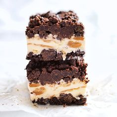 peanut butter and chocolate brownie ice cream bars