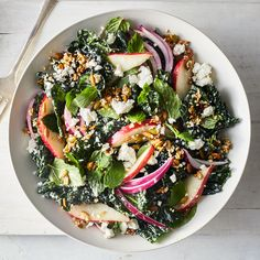 30 minutes · Vegetarian Gluten free · The crunchy seed topping is the perfect textural juxtaposition to a creamy dressing, soft pears and tender massaged kale salad. Tossing it all with mint, feta and red onion gives it a Middle Eastern… Healthy Recipes, Healthy Salads, Salad Recipes, Vegetarian Recipes, Healthy Eating, Cooking Recipes, Kale Salads, Jelly Recipes, Greek Recipes