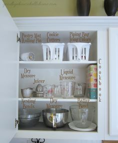 """Organized space of the week... Kitchen """"The Baking Zone"""" inside upper cabinet 