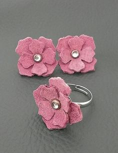 Pink Suede Earring and Ring Set Retro DustyRose by BijouxDeSoeurs, $12.00
