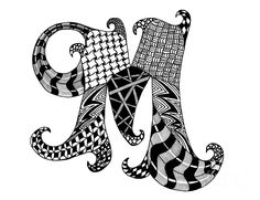 Zentangle Letter M Monogram in Black and White by Nan Wright