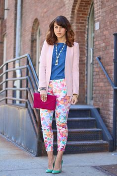 Make floral jeans more posh with a tailored blazer