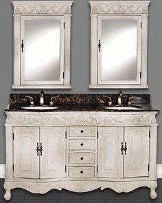 "60""W Antique White Double Bathroom Vanity Sink Chest"