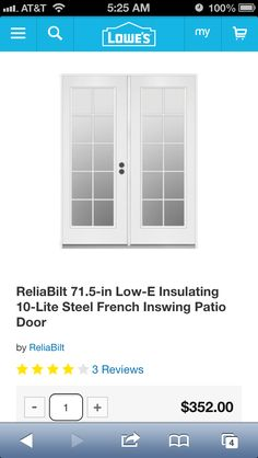 French Patio doors from Lowes. $352!!