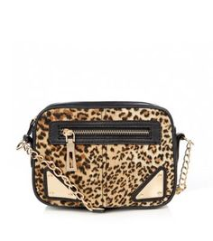 Brown Leopard Print Metal Triangle Tab Across Body Bag