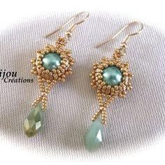 Boucles d'oreilles en perles turquoises et dorées