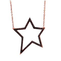 Star necklace with black crystals, rose gold over silver £70