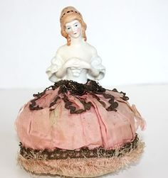 Vintage Porcelain Half Doll Pin Cushion Pink Silk