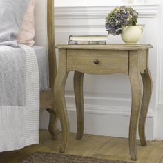 Weathered oak french style Mimi bedside table handmade from reclaimed wood French Bedside Tables, Wooden Bedside Table, Wooden King Size Bed, Painted Side Tables, Comfy Sofa, Weathered Oak, My Furniture, Bedroom Furniture, French Style