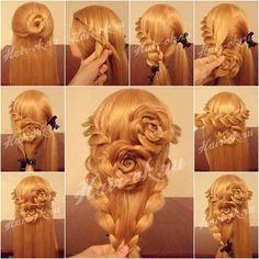 Wonderful DIY Lace Braid Rose Hairstyle / WonderfulDIY.com on imgfave