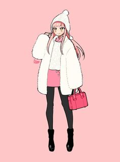 Anime Drawing Styles, Cartoon Girl Drawing, Anime Inspired Outfits, Anime Outfits, Anime Girl Pink, Anime Oc, Fashion Design Sketches, Anime Fantasy, Drawing Reference