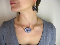 Semirigid violet agate Necklace and earrings set by daganigioielli, $49.50