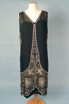 Dress: 1920's, French, beaded.