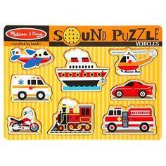 Melissa and Doug 8-Piece Wooden Vehicles Sound Puzzle