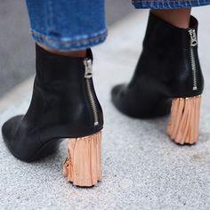 Metallic heels.