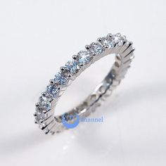 Wedding ETERNITY RING 4mm Band Channel Set Signity CZ Sterling Silver Gold Plated