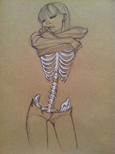 Skin and bones sketch - love how the white charcoal is used to bring the focus…