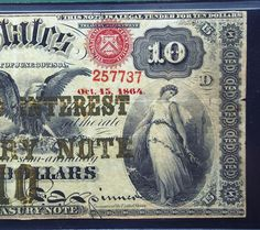 RARE 1864 10 dollar Compound Interest Bank note PMG 15 national currency US paper money bill. $6,000.00, via Etsy.