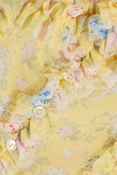 Attico - Ana Ruffled Floral-print Silk-chiffon Camisole - Pastel yellow -