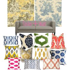 I love all of these pillows   -Toile Plus Ikat, created by agiffin on Polyvore