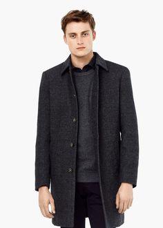 Tweed-mantel aus woll-mix - Mäntel für Herren | MANGO