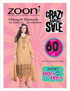 Give an edge to your #fashion identity with Zooni's CRAZY ANNUAL SALE. Rush to your nearest store now!  #Sale #Zooni