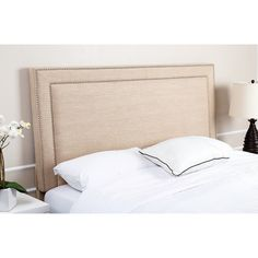 ABBYSON LIVING Tamey Nail Head Trim Wheat Linen Headboard - Overstock Shopping - Big Discounts on Abbyson Living Headboards