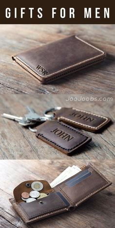I love these handmade leather wallets I found at JooJoobs. You can get them pers. I love these handmade leather wallets I found at JooJoobs. You can get them personalized with a name initials or a q Leather Wallet Pattern, Handmade Leather Wallet, Leather Gifts, Leather Craft, Leather Men, Pink Leather, Personalized Leather Wallet, Christmas Gifts For Boyfriend, Boyfriend Gifts