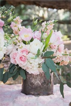 baby pink and white floral wedding centerpiece