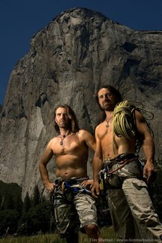 """~Thomas and Alexander Huber in El Cap Meadows in front the Nose. The average climbing time on El Capitan is three days. These German brothers did it in They are two of the best speed/freeclimbers in the world. Check out """"To The Limit"""" Yosemite National Park, National Parks, Zoolander, Good People, Amazing People, Climbing Wall, Three Days, World, California Usa"""