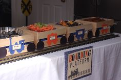 Great way to serve food at a train party