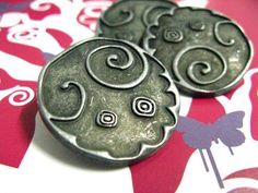 Weighty Strange Pattern Gunmetal Large Buttons