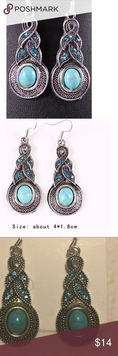 Turquoise Tibet earrings 🆕 boho dangle This is a beautiful pair of turquoise, Tibet, boho, dangle earrings.  These earrings would accent any wardrobe beautifully, with class and elegance.  Would also make a perfect gift.  Brand new.  Buy with confidence I am a Posh Ambassador, top rated seller, mentor, and fast shipper,  don't forget to bundle and save,  thank you. Jewelry Earrings