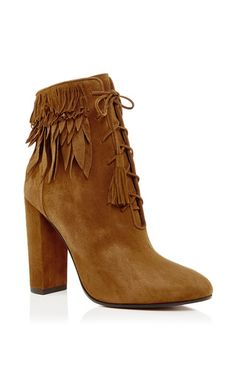 Woodstock Suede Fringed Ankle Boots by Aquazzura Now Available on Moda Operandi