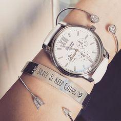 bracelet be brave keep going argent